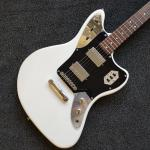 Custom Shop,Jaguar model with White Top,6 Strings Electric Guitar,Slivery hardware,Black Guardplate