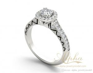 China 925 Sterling Silver Full of Diamond Luxury Indian Style Halo Diamond Engagement Rings on sale
