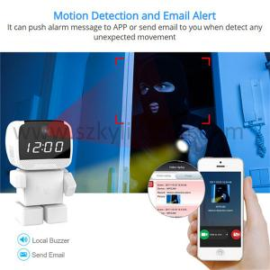 China Robot wifi cctv ip wireless camera with alarm clock  smart home robot camera on sale