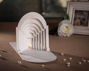 China 3d pop up white church laser cut christian wedding invitations greeting card CW3079 on sale