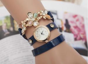 China 2015 New Flower Women's Rhinestone Quartz Analog Decoration Bracelet Wrist Watch Sale on sale