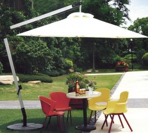China 2.5M Beige Double Patio Umbrella , Round Offset Umbrella With 360 Degree Rotating Base on sale