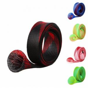 China PET Braided Fishing Rod Protective Sleeves Custom Width Flame Retardant on sale