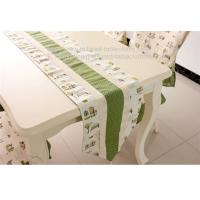 Linen cotton fabric table runners with tassel, custom fabric table runners with lace,