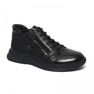 China Black Lace Up Anti Slippery Mens Leather Casual Boots on sale