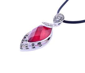 China Top quality CZ set Fashion Red Zircon Custom Gemstone Jewelry Thai Copper Pendant on sale