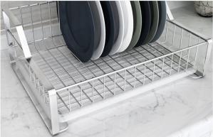 China Dish Drying Kitchen Wire Baskets Chrome / Powder Coating Elegant Design on sale