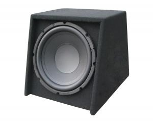 China Slim Powered Subwoofer Car , Powered Car Speakers 10 Inch Black on sale