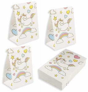 China 36 Packs Kraft Gift Bags / Kraft Paper Bags 5.2x8.7x3.3 Inches For Unicorn Party on sale