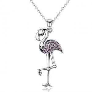 China Womens Real Sterling Silver Necklace With Flamingo Bird Animal Pendant on sale