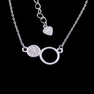 China Elegant Design Sterling Silver Pendant Necklace 925 Two Round Shape on sale