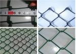 Plain Woven Green Coated Chain Link Fence , Stadium Custom Colors Acid Resistant Fence