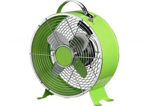 China High Stability Green Retro Metal Desk Fan Two Speed 50Hz Air Flow Silver Stainless on sale
