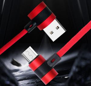 China Double Sided Plug Right Angle USB Data Cable Fabric Aluminum Alloy Usb 3.0 To Type C 90 Degree Cable on sale