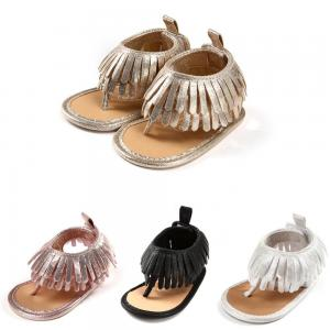 China Popular Tassel t-strap Soft sole baby barefoot infant sandals on sale