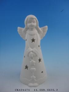 China Plain White Ceramic Christmas Gift , Ceramic Christmas Angel Figurines Statues on sale