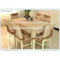 Classic plaid table cloths and chair covers at discounted prices, cotton polyester blend,