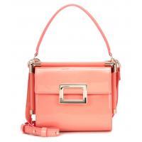 Peach color messenger bags Patent PU leather shoulder bag for girls Mini clip handbag with big square buckle Cute design