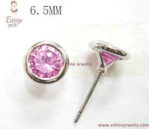 China Cheap 925 Sterling Silver CZ Stud earrings with round Pink CZ for fashion girls from China on sale
