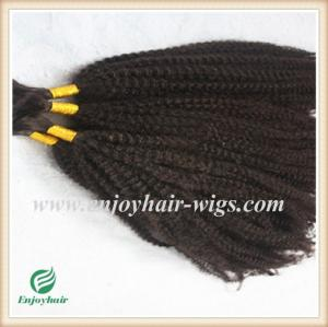 China Indian 5A virgin  hair bulk ,natural color(can be dye) afro kinky curly 10''-26''length on sale
