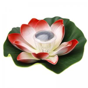 China Solar Colorful LED Lotus Lamp Floating Rotating Pond Light Garden Pool Nightlight on sale
