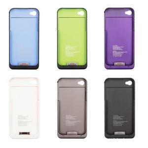 China Black / White iPhone 4s Charge Case Backup Battery Pack Cover 2000mah Power Bank on sale