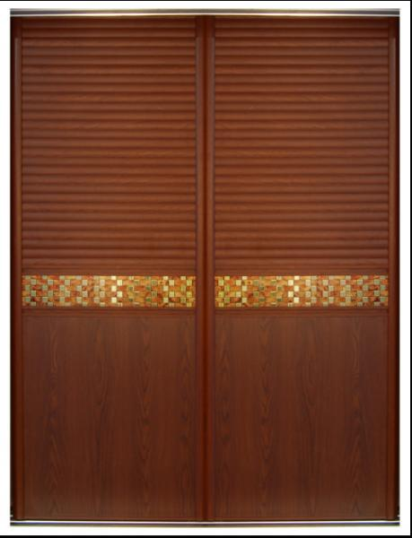 Aluminum Frame Custom Louvered Closet Doors Bedroom Wavelike Wooden