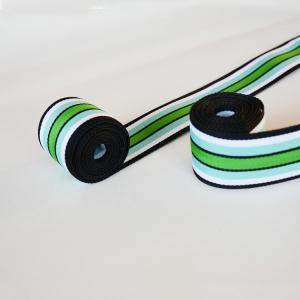 China 3.8cm Nylon Blue White Green Strip Webbing Tape For Garment on sale