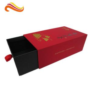 China Soft Paper Luxury Gift Boxes / Drawer Tea Box with Hot stamp Logo in Gold on sale