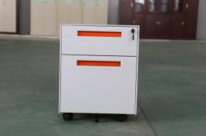 China 2 drawer steel mobile pedestal,orange handle,recessed structure,KD Structure,RAL color on sale