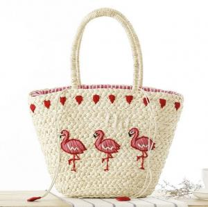 China New Korean version of the hand-embroidered shoulder bag straw bag beach knitting female fashion flamingo on sale