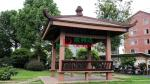 Asian Style Square Custom Made Gazebo Wood Plastic Composites With Back Bench