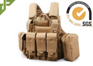 China Khaki Polyester Military Tactical Plate Carrier Vest For Hunting / Shooting / Plate Carrier on sale