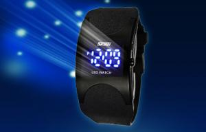 China Customized Teenage Digital Wrist Watch Black Band With LED Movement on sale