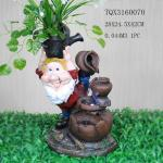Garden Landscape Dwarf Polyresin Water Fountain Pot Design , Red And Brown Color