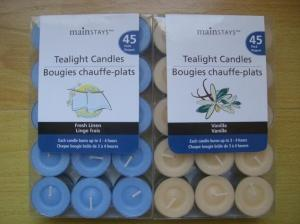 China 100% paraffin 45pack scented tealight candle with clear PVC/PET box and printed label on sale