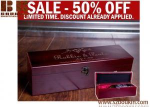 China Wine Gift, Engraved Wine Box, Luxury Wedding Wine Box, Wood Box, Wooden Wine Case, Wine Display on sale