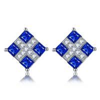 Square Sapphire Stud Earrings 18k Gold Gemstone Earrings Diamond Accents