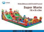 Super Mario Inflatable Slide Fire Retardant Bouncy Castle With Slide