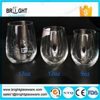 glass cups manufacturers 9OZ 12OZ 16OZ blown stemless wine glass