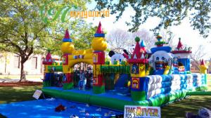 China Commercial  Mickey Mouse Inflatable Fun City Jumper With Big Backyard For Kids on sale