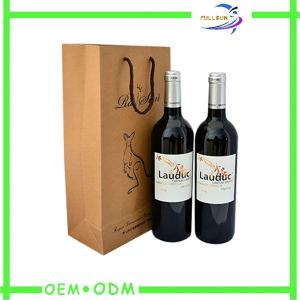 China Double Bottle Matte Reusable Wine Bag Travel WIth Carton Handle on sale