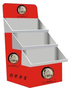 China 3-Tile Colored Cardboard Display Stands Recycled Ivory Board for Displaying Herbal Beverages on sale