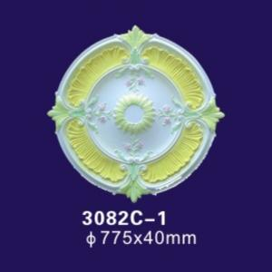 China White Color Ceiling Light Cover Plate , 30 Inches Rosettes Gypsum Ceiling Rose on sale