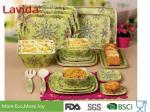Heat Resistance Bamboo Fiber Dinnerware Popular Multiple Colors Abstract Flower Print