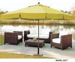 屋外の家具の休日のホテルのためのテーブルの傘が付いている一定の藤の椅子