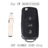 VW Volkswagen GOLF PASSAT Tiguan Polo Jetta Beetle Remote Key 434MHZ ID48 Chip Car Keyless 5K0 837 202AD 5K0837202AD