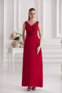 China Fashion 2013 Lady Wine Chiffon A Line V Neck Celebrities Evening Dresses on sale