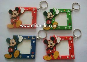China Cute Disney Mickey Mouse MINI small photo frame 3d soft pvc picture frame with key rings custom on sale