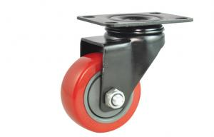 China Double Ball Bearing Swivel Caster Wheels Heavy Duty 125MM PU Rubber Caster in Red on sale